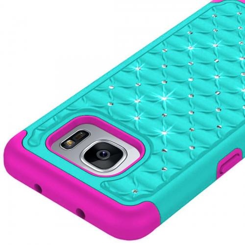 Samsung Galaxy S7 Edge Bling Case, Redshield [Mint/ Hot Pink]  Supreme Protection Bling Plastic on Silicone Dual Layer Hybrid Case