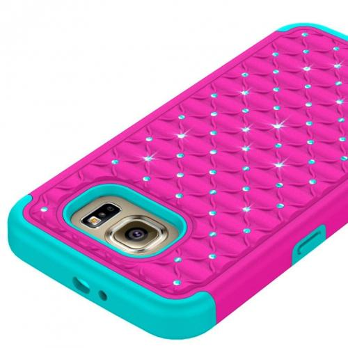 Samsung Galaxy S7 Bling Case, Redshield [Hot Pink/ Mint]  Supreme Protection Bling Plastic on Silicone Dual Layer Hybrid Case
