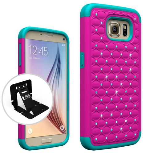 [Samsung Galaxy S7] Bling Case, Redshield [Hot Pink/ Mint]  Supreme Protection Bling Plastic on Silicone Dual Layer Hybrid Case