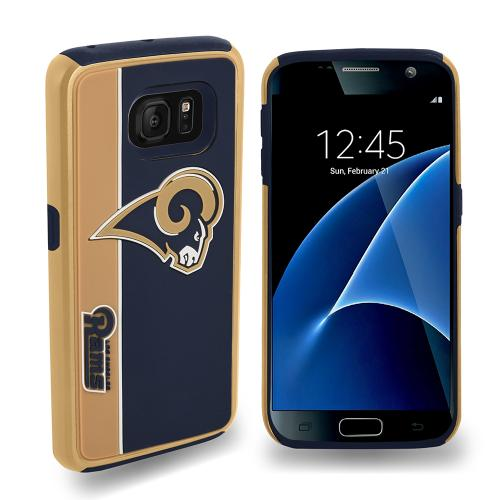 Samsung Galaxy S7 NFL Case, Slim Dual layer Hybrid Hard Case on TPU Case [Los Angeles Rams]