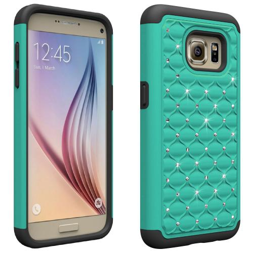 Samsung Galaxy S7 Bling Case, Redshield [Mint/ Black]  Supreme Protection Bling Plastic on Silicone Dual Layer Hybrid Case
