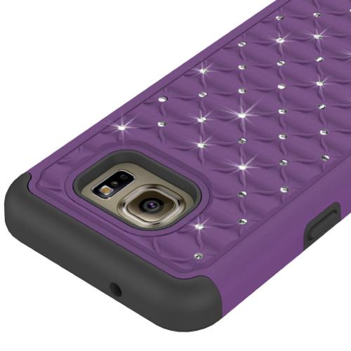 [Samsung Galaxy S7] Bling Case, Redshield [Purple/ Black]  Supreme Protection Bling Plastic on Silicone Dual Layer Hybrid Case with Travel Wallet Phone Stand