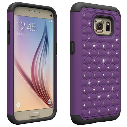 [Samsung Galaxy S7] Bling Case, Redshield [Purple/ Black]  Supreme Protection Bling Plastic on Silicone Dual Layer Hybrid Case