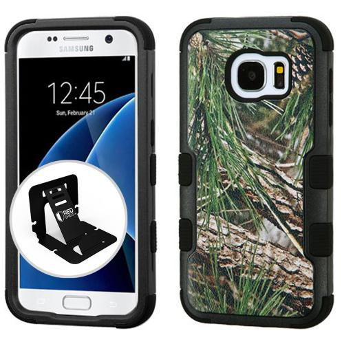 [Samsung Galaxy S7] Case, TUFF Hybrid Dual Layer Hard Case on Silicone Skin [Pine Tree-Hunting Camouflage] with Travel Wallet Phone Stand