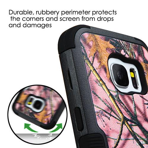 [Samsung Galaxy S7] Case, TUFF Hybrid Dual Layer Hard Case on Silicone Skin [Pink Oak-Hunting Camouflage]
