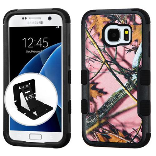 [Samsung Galaxy S7] Case, TUFF Hybrid Dual Layer Hard Case on Silicone Skin [Pink Oak-Hunting Camouflage] with Travel Wallet Phone Stand