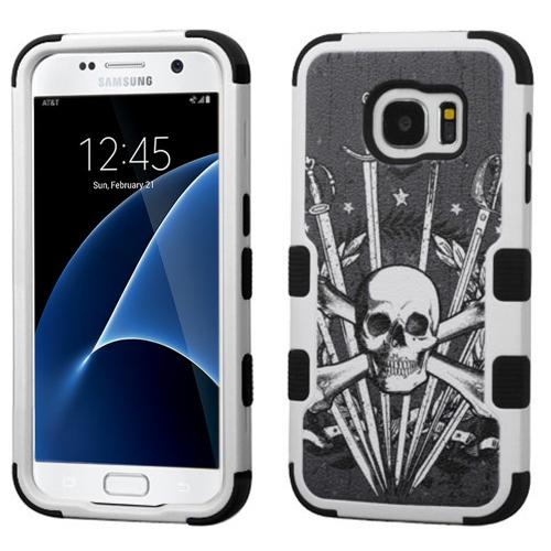 Samsung Galaxy S7 Case, TUFF Hybrid Dual Layer Hard Case on Silicone Skin [Skulls & Swords]
