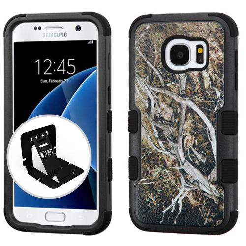 [Samsung Galaxy S7] Case, TUFF Hybrid Dual Layer Hard Case on Silicone Skin [Tree Branches on Black] with Travel Wallet Phone Stand
