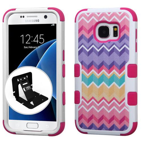 [Samsung Galaxy S7] Case, TUFF Hybrid Dual Layer Hard Case on Silicone Skin [Camo Wave Chevron] with Travel Wallet Phone Stand