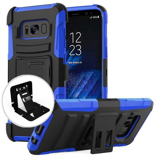 Samsung Galaxy S8 Case, [REDshield] Dual Layer Hard Case w/ Kickstand on Silicone Skin Case w/ Holster [Blue/ Black] with Travel Wallet Phone Stand
