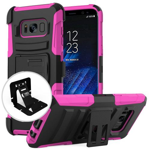Samsung Galaxy S8 Case, [REDshield] Dual Layer Hard Case w/ Kickstand on Silicone Skin Case w/ Holster [Hot Pink/ Black] with Travel Wallet Phone Stand