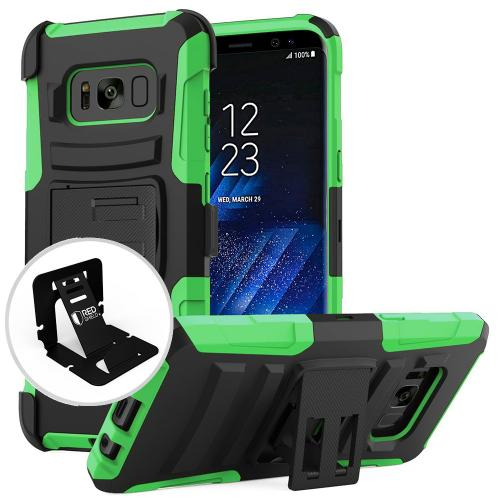 Samsung Galaxy S8 Case, [REDshield] Dual Layer Hard Case w/ Kickstand on Silicone Skin Case w/ Holster [Neon Green/ Black] with Travel Wallet Phone Stand