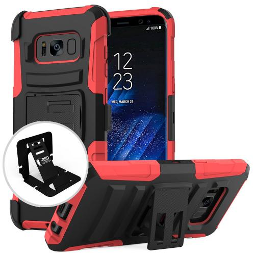 Samsung Galaxy S8 Case, [REDshield] Dual Layer Hard Case w/ Kickstand on Silicone Skin Case w/ Holster [Red/ Black] with Travel Wallet Phone Stand