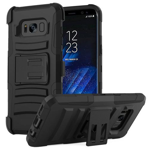 Samsung Galaxy S8 Plus Case, Dual Layer Hard Case w/ Kickstand on Silicone Skin Case w/ Holster [Black]
