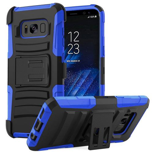 Samsung Galaxy S8 Plus Case, Dual Layer Hard Case w/ Kickstand on Silicone Skin Case w/ Holster [Blue/ Black]