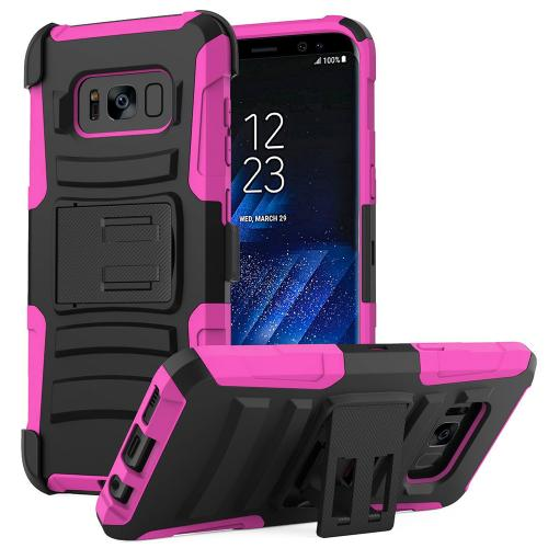 Samsung Galaxy S8 Plus Case, Dual Layer Hard Case w/ Kickstand on Silicone Skin Case w/ Holster [Hot Pink/ Black]