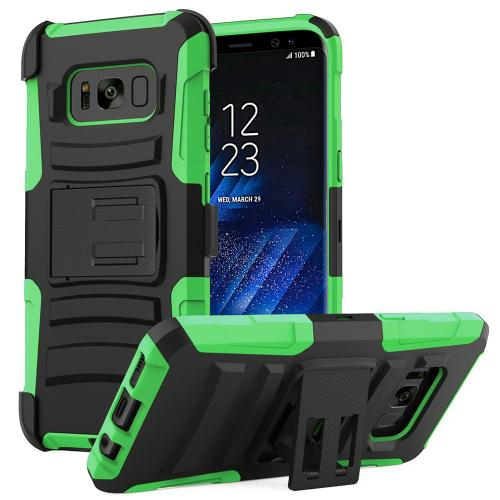 Samsung Galaxy S8 Plus Case, Dual Layer Hard Case w/ Kickstand on Silicone Skin Case w/ Holster [Neon Green/ Black]