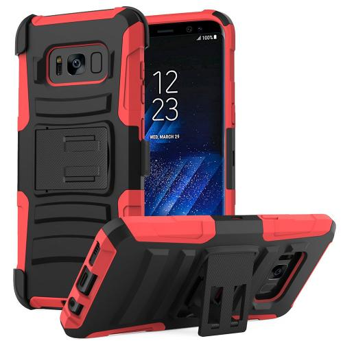 Samsung Galaxy S8 Plus Case, Dual Layer Hard Case w/ Kickstand on Silicone Skin Case w/ Holster [Red/ Black]