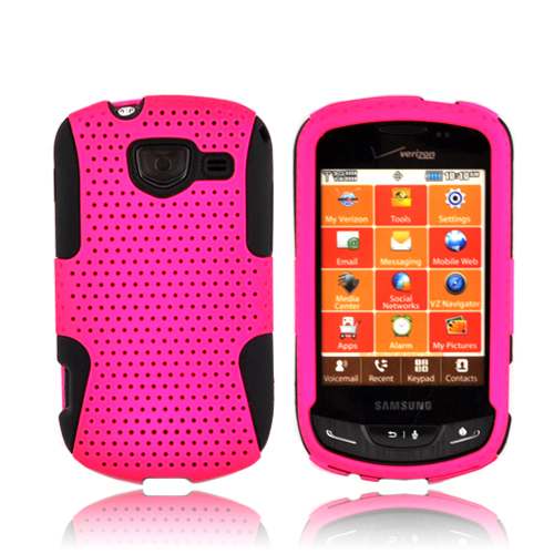 Samsung Brightside Hard Back Case Cover on Silicone - Hot Pink Mesh on Black