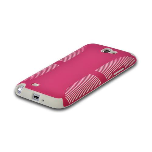 Hot Pink Hard Back on White Crystal Silicone Case for Samsung Galaxy Note 2