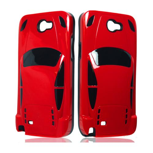 Red/ Black Sports Car Hybrid Case w/ 3D Features for Samsung Galaxy Note 2