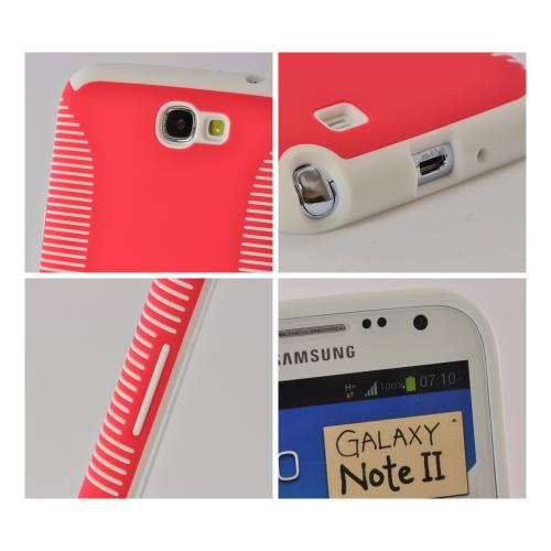 Red Hard Back on White Crystal Silicone Case for Samsung Galaxy Note 2