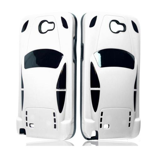 White/ Black Sports Car Hybrid Case w/ 3D Features for Samsung Galaxy Note 2