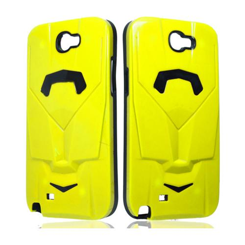 Yellow/ Black Car Hybrid Case w/ Raised Look for Samsung Galaxy Note 2