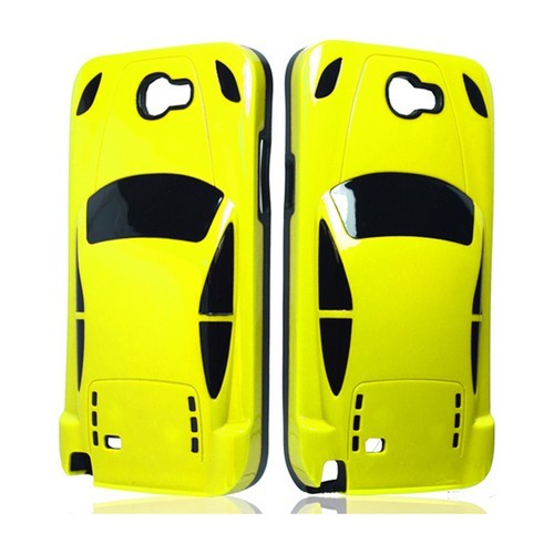 Yellow/ Black Sports Car Hybrid Case w/ 3D Features for Samsung Galaxy Note 2