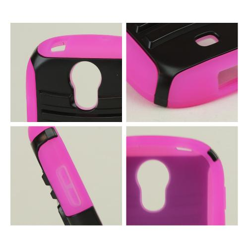 Black Hard Case w/ Kickstand on Hot Pink Silicone Skin Case w/ Holster for Samsung Galaxy Light