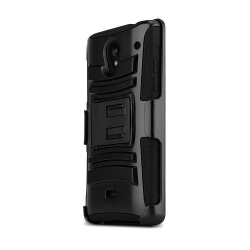 Sharp Aquos Crystal Dual Layer Hard Case w/ Kickstand on Black Silicone Skin Case w/ Holster - Fantastic Protection!