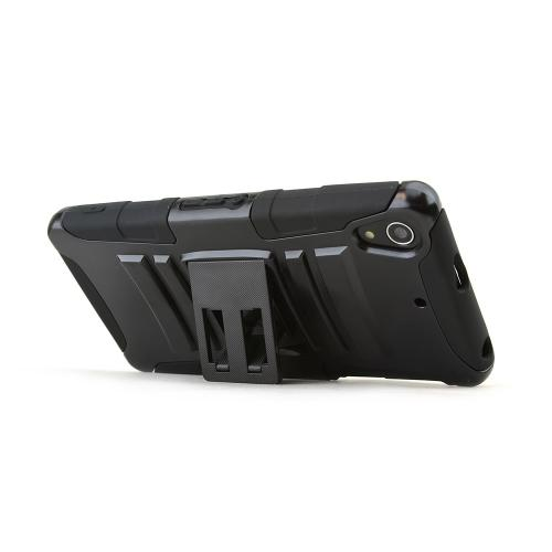 Black Hard Case w/ Kickstand on Black Silicone Skin Case w/ Holster for Sony Xperia Z2