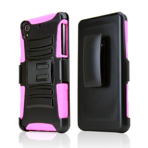 Black Hard Case w/ Kickstand on Hot Pink Silicone Skin Case w/ Holster for Sony Xperia Z2