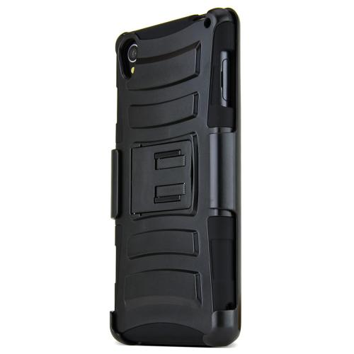 Xperia Z3 Dual Layer Case [Black on Black] Featuring Harden Polycarbonate Outter Layer with Kickstand on Silicone Skin + Heavy Duty Holster