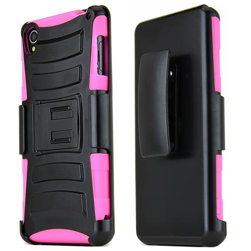 Sony Xperia Z3 Hybrid Case [black] Heavy Duty Protective Dual Layer Rugged Bumper Hybrid Case W/ Kickstand And Holster