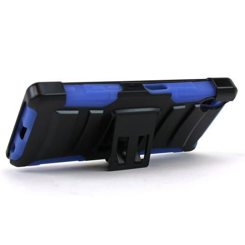 Sony Xperia Z5 Holster Case, [Blue] Supreme Protection Plastic on Silicone Dual Layer Hybrid Case