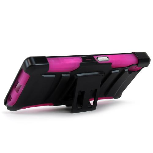 Sony Xperia Z5 Holster Case, [Hot Pink] Supreme Protection Plastic on Silicone Dual Layer Hybrid Case