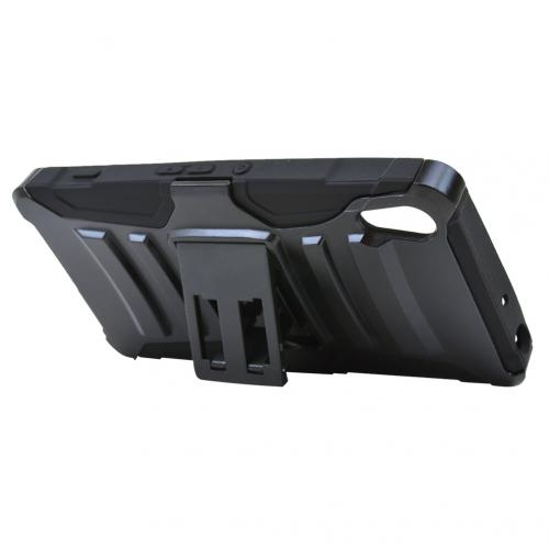 Sony Xperia Z4V Holster Case, [Black] Supreme Protection Plastic on Silicone Dual Layer Hybrid Case