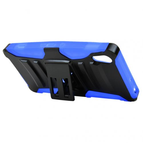 Sony Xperia Z4V Holster Case, [Blue] Supreme Protection Plastic on Silicone Dual Layer Hybrid Case