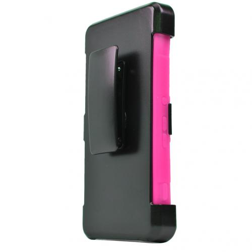 Sony Xperia Z4V Holster Case, [Hot Pink] Supreme Protection Plastic on Silicone Dual Layer Hybrid Case