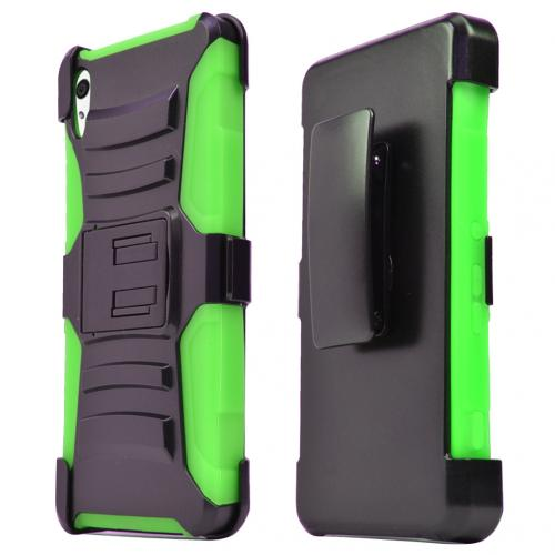Sony Xperia Z4V Holster Case, [Neon Green] Supreme Protection Plastic on Silicone Dual Layer Hybrid Case