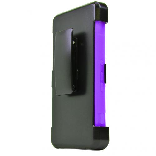 Sony Xperia Z4V Holster Case, [Purple] Supreme Protection Plastic on Silicone Dual Layer Hybrid Case