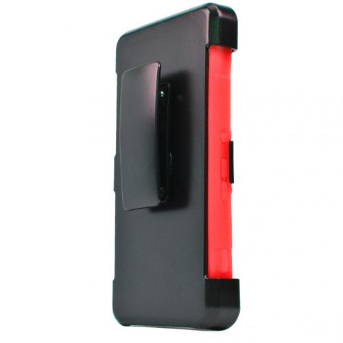 Sony Xperia Z4V Holster Case, [Red] Supreme Protection Plastic on Silicone Dual Layer Hybrid Case