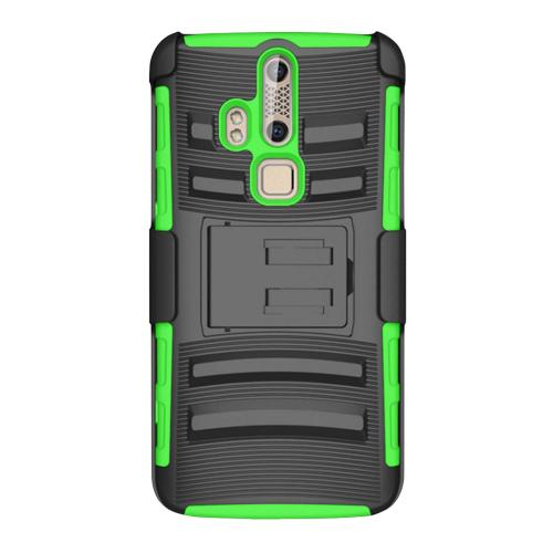 ZTE Axon Pro Holster Case, [Neon Green] Supreme Protection Plastic on Silicone Dual Layer Hybrid Case
