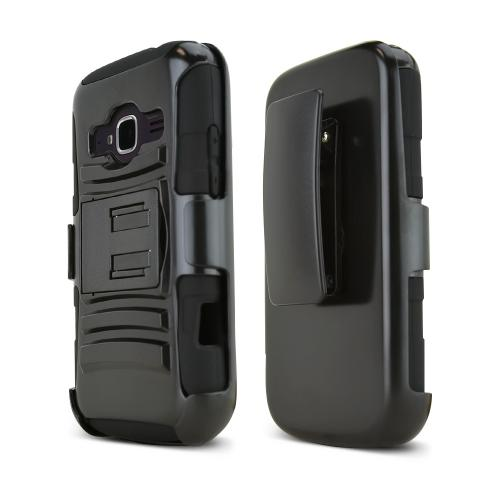 Black ZTE Concord 2 Hard Case w/ Kickstand on Black Silicone Skin Case w/ Holster
