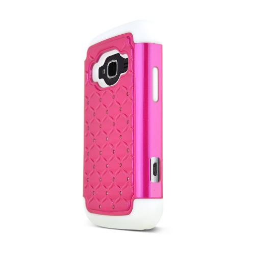 Hot Pink ZTE Concord 2 Hard Cover w/ Bling Over White Silicone Skin Case