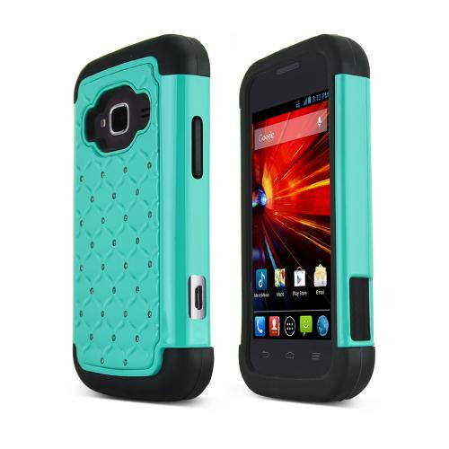 Dark Mint ZTE Concord 2 Hard Cover w/ Bling Over Black Silicone Skin Case
