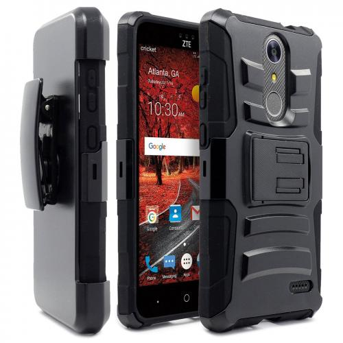 [ZTE Grand X 4] Case, REDshield [Black] Supreme Protection Hard Plastic on Silicone Skin Dual Layer Hybrid Case