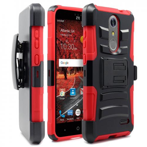 [ZTE Grand X 4] Case, REDshield [Red/ Black] Supreme Protection Hard Plastic on Silicone Skin Dual Layer Hybrid Case
