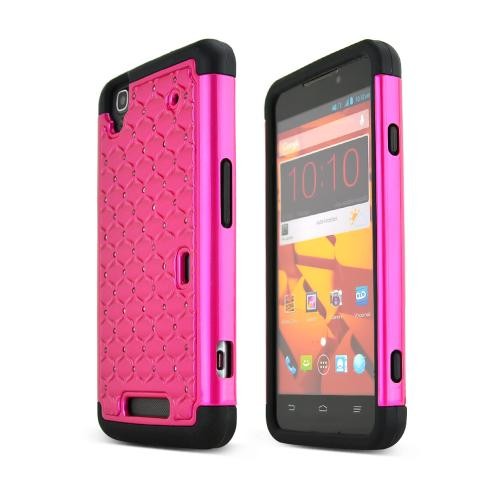 Hot Pink ZTE Max Dual Layer Hard Cover w/ Bling Over Black Silicone Skin Case
